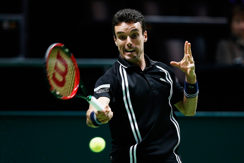 ROTTERDAM, NETHERLANDS - FEBRUARY 10:  Roberto Bautista Agut of Spain in action against Joao Sousa of Portugal during day 3 of the ABN AMRO World Tennis Tournament held at Ahoy Rotterdam on February 10, 2016 in Rotterdam, Netherlands.  (Photo by Dean Mouhtaropoulos/Getty Images)