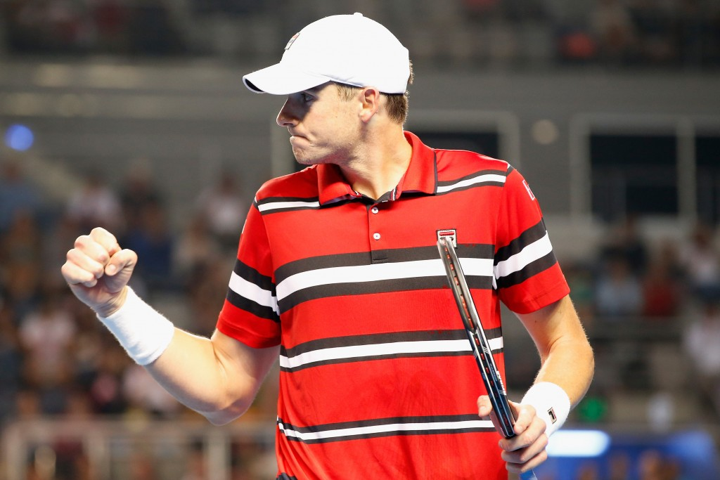 MELBOURNE, AUSTRALIA - JANUARY 25:  John Isner of the United States reacts during his fourth round match against David Ferrer of Spain during day eight of the 2016 Australian Open at Melbourne Park on January 25, 2016 in Melbourne, Australia.  (Photo by Darrian Traynor/Getty Images)
