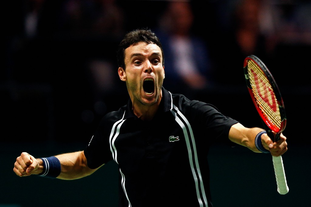 ROTTERDAM, NETHERLANDS - FEBRUARY 11:  Roberto Bautista Agut of Spain celebrates victory against Jiri Vesely of the Czech Republic during day 4 of the ABN AMRO World Tennis Tournament held at Ahoy Rotterdam on February 11, 2016 in Rotterdam, Netherlands.  (Photo by Dean Mouhtaropoulos/Getty Images)