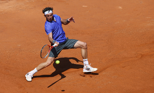 ROME, ITALY - MAY 12:  Juan Monaco of Argentina in action during his match against Stan Wawrinka of Switzerland on Day Three of the The Internazionali BNL d'Italia 2015 at the Foro Italico on May 12, 2015 in Rome, Italy.  (Photo by Ian Walton/Getty Images)