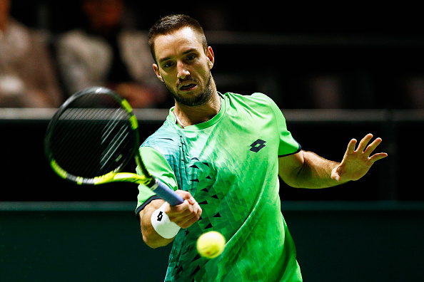 ROTTERDAM, NETHERLANDS - FEBRUARY 11:  Viktor Troicki of Serbia in action against Hyeon Chung of South Korea during day 4 of the ABN AMRO World Tennis Tournament held at Ahoy Rotterdam on February 11, 2016 in Rotterdam, Netherlands.  (Photo by Dean Mouhtaropoulos/Getty Images)