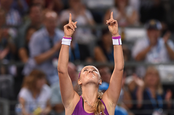 BRISBANE, AUSTRALIA - JANUARY 09:  Victoria Azarenka of Belarus celebrates wiining her Women's Final against Angelique Kerber of Germany during day seven of the 2016 Brisbane International at Pat Rafter Arena on January 9, 2016 in Brisbane, Australia.  (Photo by Matt Roberts/Getty Images)