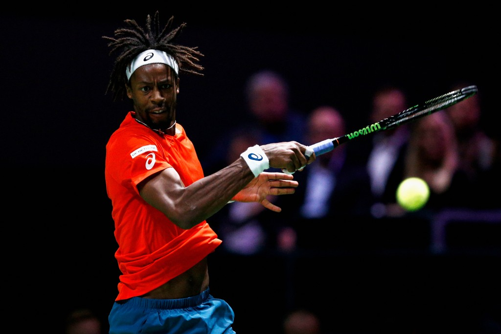 ROTTERDAM, NETHERLANDS - FEBRUARY 09:  Gael Monfils of France in action against Ernests Gulbis of Latvia during day 2 of the ABN AMRO World Tennis Tournament held at Ahoy Rotterdam on February 9, 2016 in Rotterdam, Netherlands.  (Photo by Dean Mouhtaropoulos/Getty Images)