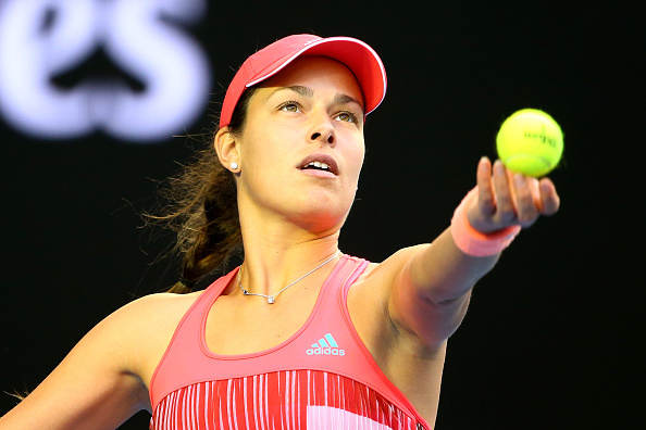 MELBOURNE, AUSTRALIA - JANUARY 23: Ana Ivanovic of Serbia serves in her third round match against Madison Keys of the United States during day six of the 2016 Australian Open at Melbourne Park on January 23, 2016 in Melbourne, Australia.  (Photo by Scott Barbour/Getty Images)