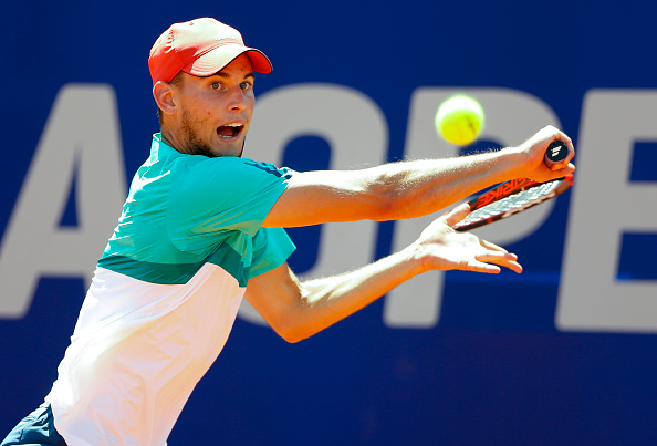 BUENOS AIRES, ARGENTINA - FEBRUARY 14:  Dominic Thiem of Austria takes a backhand shot during his final match against Nicolas Almagro of Spain as part of ATP Argentina Open at Buenos Aires Lawn Tennis Club on February 14, 2016 in Buenos Aires, Argentina. (Photo by Gabriel Rossi/LatinContent/Getty Images)