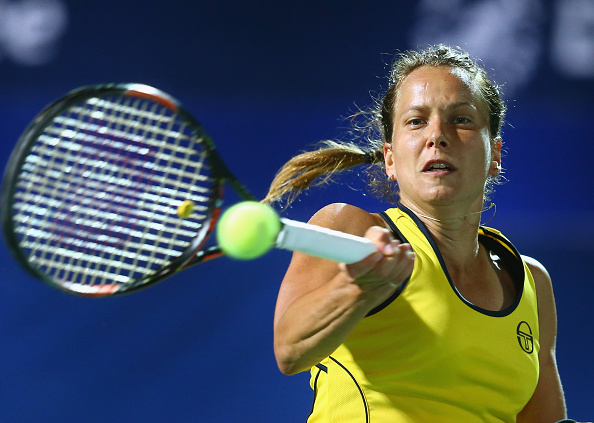DUBAI, UNITED ARAB EMIRATES - FEBRUARY 18:  Barbora Strycova of Czech Republic  in action in her quarter final match against Ana Ivanovic of Serbia during day four of the WTA Dubai Duty Free Tennis Championship at the Dubai Duty Free Stadium on February 18, 2016 in Dubai, United Arab Emirates.  (Photo by Francois Nel/Getty Images)