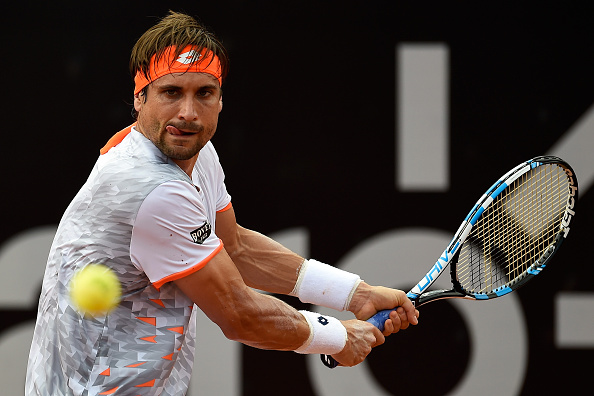 RIO DE JANEIRO, BRAZIL - FEBRUARY 16:  David Ferrer of Spain returns a shot to Nicolas Jarry of Chile during the Rio Open Day 2 at Jockey Club Brasileiro on February 16, 2016 in Rio de Janeiro, Brazil.  (Photo by Buda Mendes/Getty Images)