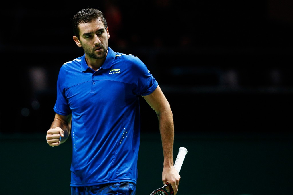 ROTTERDAM, NETHERLANDS - FEBRUARY 10:  Marin Cilic of Croatia reacts to a won point against Gilles Muller of Luxembourg during day 3 of the ABN AMRO World Tennis Tournament held at Ahoy Rotterdam on February 10, 2016 in Rotterdam, Netherlands.  (Photo by Dean Mouhtaropoulos/Getty Images)