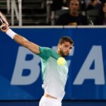 DELRAY BEACH, FL - FEBRUARY 17: Grigor Dimitrov of Bulgaria in action defeating Damir Dzumhur of Bosnia and Herzegovina at the Delray Beach Open at Delray Beach Stadium & Tennis Center on February 17, 2016 in Delray Beach, Florida. (Photo by Peter Staples/ATP World Tour/Getty Images)