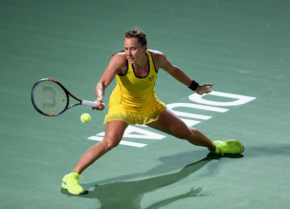 DUBAI, UNITED ARAB EMIRATES - FEBRUARY 19:  Barbora Strycova of Czech Republic  in action against Caroline Garcia of Francea during their women's semi final match of the WTA Dubai Duty Free Tennis Championship at the Dubai Duty Free Stadium  on February 19, 2016 in Dubai, United Arab Emirates.  (Photo by Francois Nel/Getty Images)