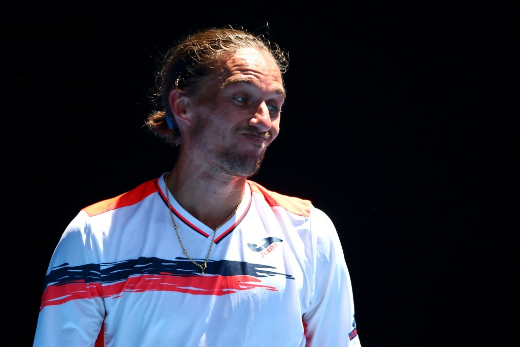 MELBOURNE, AUSTRALIA - JANUARY 20:  Alexandr Dolgopolov of Ukraine reacts in his second round match against Roger Federer of Switzerland during day three of the 2016 Australian Open at Melbourne Park on January 20, 2016 in Melbourne, Australia.  (Photo by Mark Kolbe/Getty Images)