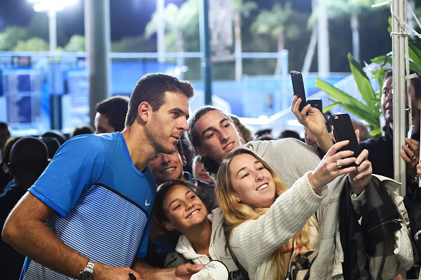 DELRAY BEACH, FL - FEBRUARY 18: Juan Martin Del Potro of Argentina with fans after defeating John-Patrick Smith of Australia at the Delray Beach Open at Delray Beach Stadium & Tennis Center on February 18, 2016 in Delray Beach, Florida. (Photo by Peter Staples/ATP World Tour/Getty Images)