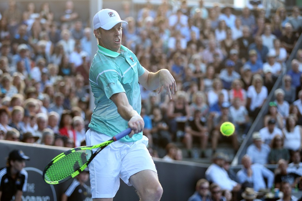 AUCKLAND, NEW ZEALAND - JANUARY 13:  Sam Querrey of USA plays a forehand shot to John Isner of USA on day 3 of the ASB Classic on January 13, 2016 in Auckland, New Zealand.  (Photo by Fiona Goodall/Getty Images)