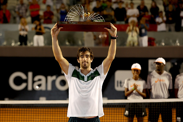 RIO DE JANEIRO, BRAZIL - FEBRUARY 21:  Pablo Cuevas of Uraguay celebrates his win over Guido Pella of Argentina during the final of the Rio Open at Jockey Club Brasileiro on February 21, 2016 in Rio de Janeiro, Brazil.  (Photo by Matthew Stockman/Getty Images)