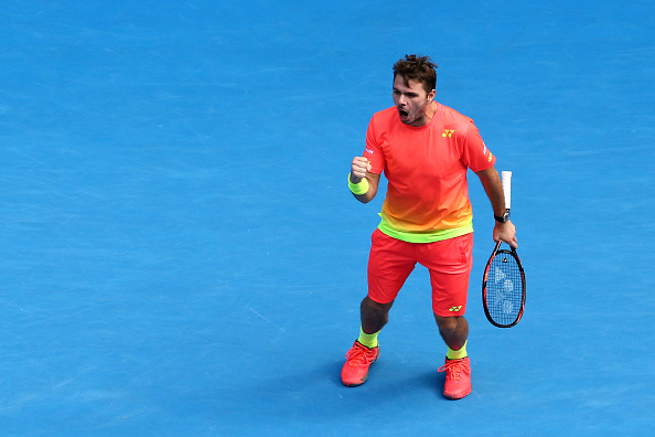 MELBOURNE, AUSTRALIA - JANUARY 25:  Stan Wawrinka of Switzerland celebrates a point in his fourth round match against Milos Raonic of Canada during day eight of the 2016 Australian Open at Melbourne Park on January 25, 2016 in Melbourne, Australia.  (Photo by Scott Barbour/Getty Images)
