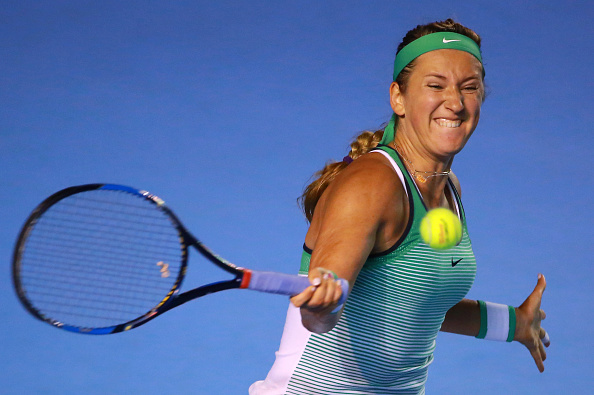 MEXICO CITY, MEXICO - FEBRUARY 23:  Victoria Azarenka of Belarus returns a shot during a singles match between Victoria Azarenka of Belarus and Polona Hercog of Slovenia as part of Telcel ATP Mexican Open 2016 at Mextenis Stadium on February 23, 2016 in Mexico City, Mexico. (Photo by Hector Vivas/LatinContent/Getty Images)
