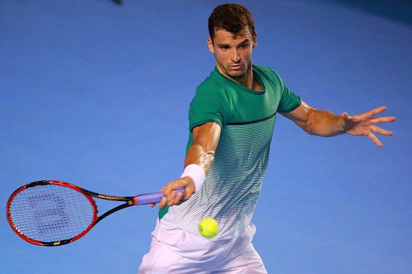 MEXICO CITY, MEXICO - FEBRUARY 23:  Grigor Dimitrov of Bulgary returns a ball during a singles match between Grigor Dimitrov of Bulgary and Denis Kudla of USA as part of Telcel ATP Mexican Open 2016 at Mextenis Stadium on February 23, 2016 in Mexico City, Mexico. (Photo by Hector Vivas/LatinContent/Getty Images)