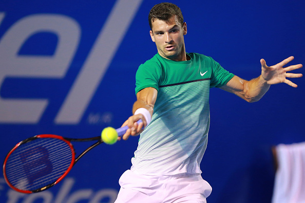 ACAPULCO, MEXICO - FEBRUARY 23:  Grigor Dimitrov of Bulgary returns a ball during a  singles match between Grigor Dimitrov of Bulgary and Denis Kudla of USA as part of Telcel ATP Mexican Open 2016 at Mextenis Stadium on February 23, 2016 in Acapulco, Mexico. (Photo by Hector Vivas/LatinContent/Getty Images)