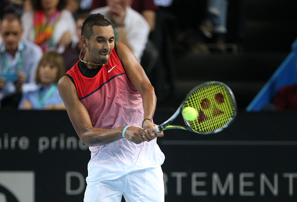 MARSEILLE - FEBRUARY 21: Nick Kyrgios of Australia in action during the Open 13, an ATP Tour 250 tournament at Palais des Sports on February 21, 2016 in Marseille, France. (Photo by Jean Catuffe/Getty Images)