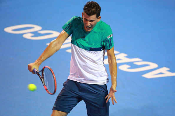 MEXICO CITY, MEXICO - FEBRUARY 23:  Dominic Thiem of Austria returns a shot during a singles match between Damir Dzumhur of Bosnia and Herzegovina and Dominic Thiem of Austria as part of Telcel ATP Mexican Open 2016 at Mextenis Stadium on February 23, 2016 in Mexico City, Mexico. (Photo by Hector Vivas/LatinContent/Getty Images)