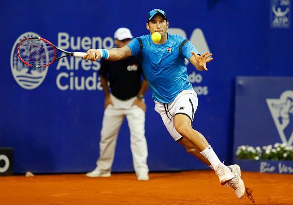 BUENOS AIRES, ARGENTINA - FEBRUARY 10:  Dusan Lajovic of Serbia takes a forehand shot during a match between John Isner of USA and Dusan Lajovic of Serbia as part of ATP Argentina Open at Buenos Aires Lawn Tennis Club on February 10, 2016 in Buenos Aires, Argentina. (Photo by Gabriel Rossi/LatinContent/Getty Images)