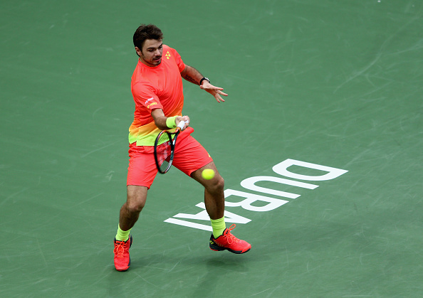 DUBAI, UNITED ARAB EMIRATES - FEBRUARY 26:  Stan Wawrinka of Switzerland in action during his semi final match against Nick Kyrgios of Australia on day seven of the ATP Dubai Duty Free Tennis Championship at the Dubai Duty Free Stadium on February 26, 2016 in Dubai, United Arab Emirates.  (Photo by Warren Little/Getty Images)