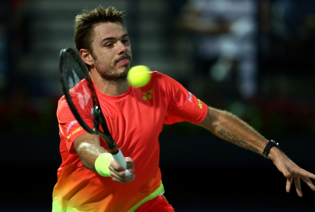 in action  against in the final of the ATP Dubai Duty Free Tennis Championship at the Dubai Duty Free Stadium on February on February 27, 2016 in Dubai, United Arab Emirates.