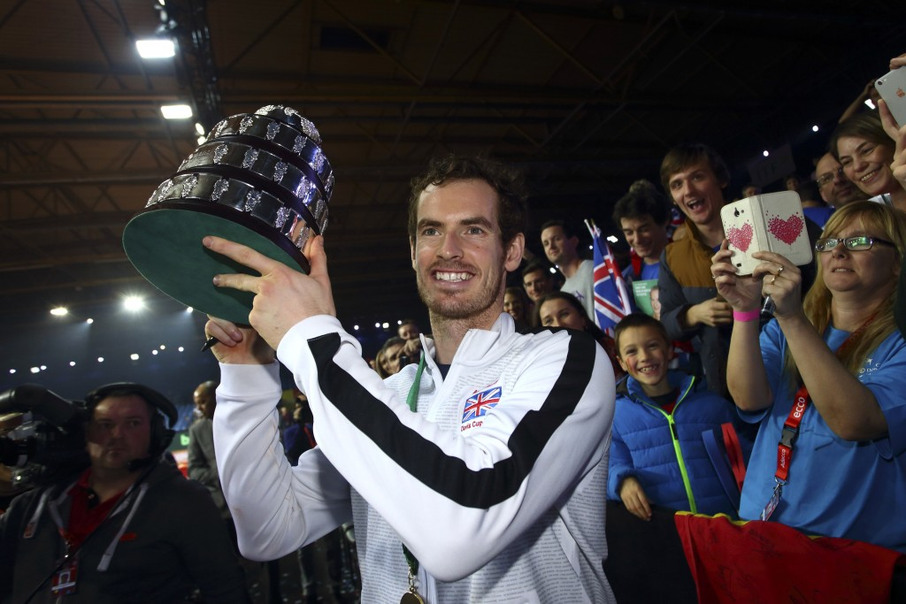 GHENT, BELGIUM - NOVEMBER 29:  Andy Murray of Great Britain lifts the trophy following their victory during day three of the Davis Cup Final match between Belgium and Great Britain at Flanders Expo on November 29, 2015 in Ghent, Belgium. (Photo by Jordan Mansfield/Getty Images for LTA)