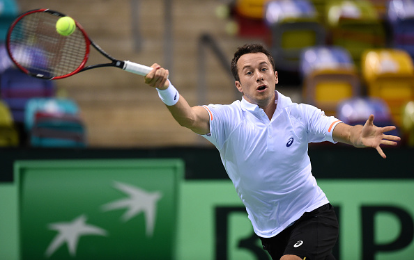 FRANKFURT AM MAIN, GERMANY - MARCH 06:  Philipp Kohlschreiber of Germany in action against Gael Monfils of France during day one of the Davis Cup World Group first round between Germany and France at Fraport Arena on March 6, 2015 in Frankfurt am Main, Germany.  (Photo by Matthias Hangst/Bongarts/Getty Images)