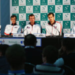 BIRMINGHAM, ENGLAND - MARCH 03:  (L-R) Dominic Inglot, Jamie Murray, captain of Great Britain Leon Smith, Andy Murray and Dan Evans  look on duirng a press conference ahead of the Davis Cup World Group 1st round tie between Great Britain and Japan at Barclaycard Arena on March 3, 2016 in Birmingham, England.  (Photo by Clive Brunskill/Getty Images)