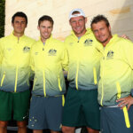 MELBOURNE, AUSTRALIA - MARCH 03:  Bernard Tomic, John Peers, Sam Groth and Llewton Hewitt of Australia pose for photos as they arrive for the official draw ahead of the Davis Cup Tie between Australia and the United States at Kooyong on March 3, 2016 in Melbourne, Australia.  (Photo by Robert Prezioso/Getty Images)
