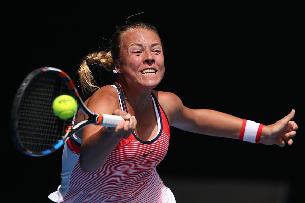 MELBOURNE, AUSTRALIA - JANUARY 19:  Anett Kontaveit of Estonia plays a forehand in her first round match against Gabine Muguruza of Spain during day two of the 2016 Australian Open at Melbourne Park on January 19, 2016 in Melbourne, Australia.  (Photo by Michael Dodge/Getty Images)