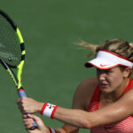 KUALA LUMPUR, MALAYSIA - MARCH 02: Eugenie Bouchard of Canada in action during Day Three of the 2016 BMW Malaysian Open at Kuala Lumpur Golf & Country Club on March 2, 2016 in Kuala Lumpur, Malaysia.  (Photo by Stanley Chou/Getty Images)