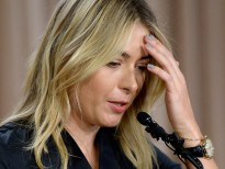 LOS ANGELES, CA - MARCH 07:  Tennis player Maria Sharapova reacts as she addresses the media regarding a failed drug test at The LA Hotel Downtown on March 7, 2016 in Los Angeles, California. Sharapova, a five-time major champion, is currently the 7th ranked player on the WTA tour. Sharapova, withdrew from this week's BNP Paribas Open at Indian Wells due to injury.  (Photo by Kevork Djansezian/Getty Images)