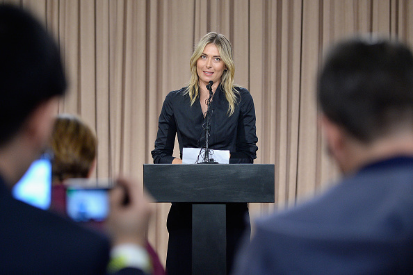 LOS ANGELES, CA - MARCH 07:  Tennis player Maria Sharapova addresses the media regarding a failed drug test at The LA Hotel Downtown on March 7, 2016 in Los Angeles, California. Sharapova, a five-time major champion, is currently the 7th ranked player on the WTA tour. Sharapova, withdrew from this week's BNP Paribas Open at Indian Wells due to injury.  (Photo by Kevork Djansezian/Getty Images)
