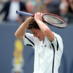 10 Sep 2000: Marat Safin of Russia celebrates after the match against Pete Sampras of the US during the US Open at the USTA National Tennis Center in Flushing Meadows, New York. Marat Safin defeated Pete Sampras 6-4, 6-3, 6-3.Mandatory Credit: Al Bello  /Allsport