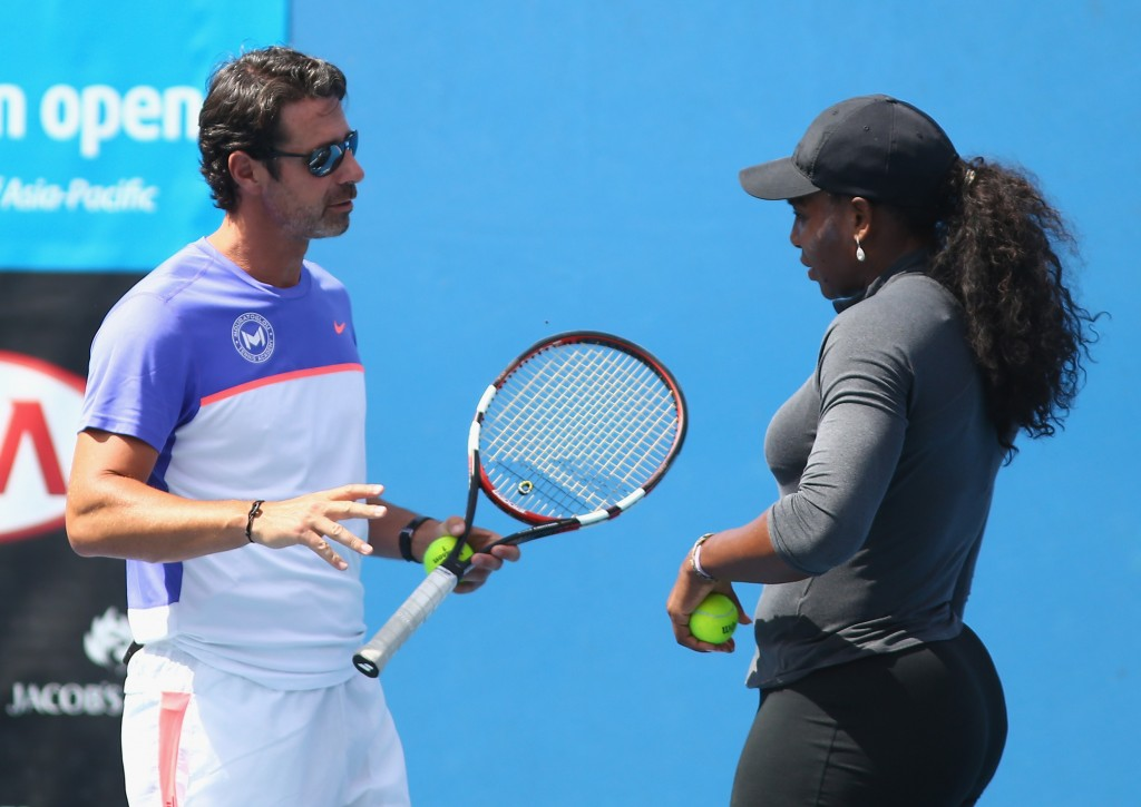 MELBOURNE, AUSTRALIA - JANUARY 19:  Serena Williams of the United States speaks with her coach Patrick Mouratoglou during day two of the 2016 Australian Open at Melbourne Park on January 19, 2016 in Melbourne, Australia.  (Photo by Jack Thomas/Getty Images)