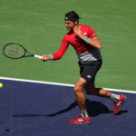 INDIAN WELLS, CA - MARCH 12:  Milos Raonic of Canada plays a forehand in his match against Inigo Cervantes of Spain during day six of the BNP Paribas Open at Indian Wells Tennis Garden on March 12, 2016 in Indian Wells, California.  (Photo by Julian Finney/Getty Images)