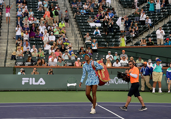 INDIAN WELLS, CA - MARCH 11: Venus Williams of the United States arrives on court after a 15 year absence from the event during day five of the BNP Paribas Open at Indian Wells Tennis Garden on March 11, 2016 in Indian Wells, California.(Photo by Kevork Djansezian/Getty Images)