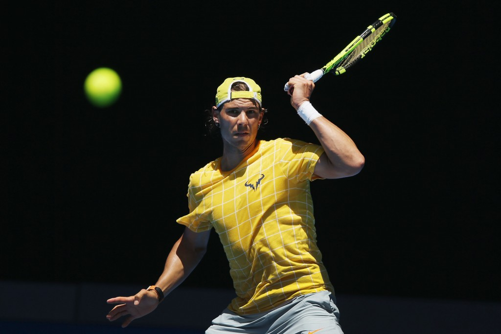 MELBOURNE, AUSTRALIA - JANUARY 16:  Rafael Nadal of Spain hits a forehand during a practice session ahead of the 2016 Australian Open at Melbourne Park on January 16, 2016 in Melbourne, Australia.  (Photo by Michael Dodge/Getty Images)