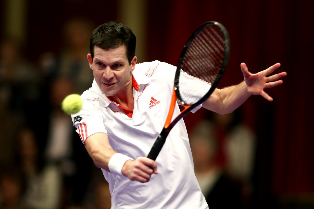 LONDON, ENGLAND - DECEMBER 03:  Tim Henman of Great Britain plays a backhand in his Group A Mens Singles match against Thomas Enqvist of Sweden during day one of the Statoil Masters Tennis at the Royal Albert Hall on December 3, 2014 in London, England.  (Photo by Jordan Mansfield/Getty Images)