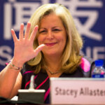 ZHUHAI, CHINA - JANUARY 27:  (CHINA OUT) Stacey Allaster, WTA Chairman & CEO, gestures during the 2015 WTA Elite Trophy - Zhuhai press conference on January 27, 2015 in Zhuhai, Guangdong province of China.  (Photo by ChinaFotoPress/ChinaFotoPress via Getty Images)