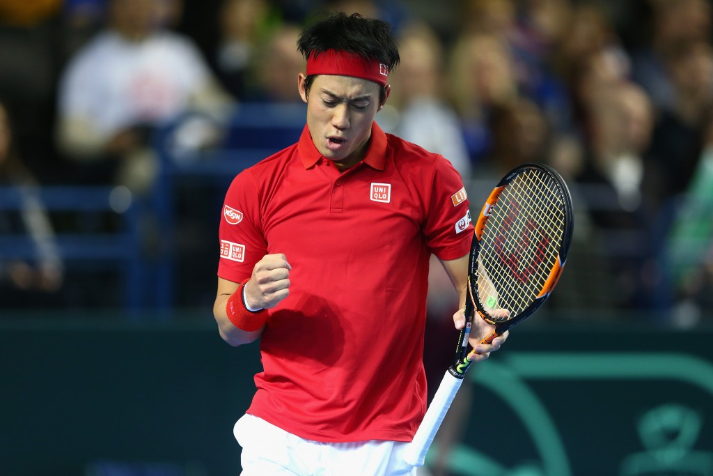 BIRMINGHAM, ENGLAND - MARCH 06:  Kei Nishikori of Japan celebrates during the singles match against Andy Murray of Great Britain on day three of the Davis Cup World Group first round tie at the Barclaycard Arena on March 6, 2016 in Birmingham, England.  (Photo by Clive Brunskill/Getty Images)