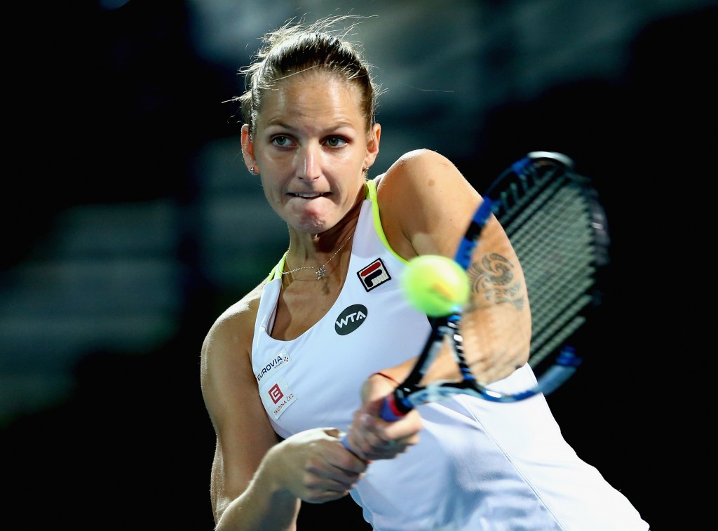 DUBAI, UNITED ARAB EMIRATES - FEBRUARY 15:  Karolina Pliskova of Czech Republic plays a backhand  in her match against CoCo Vandeweghe of the USA during day one of the WTA Dubai Duty Free Tennis Championship at the Dubai Duty Free Stadium on February 15, 2016 in Dubai, United Arab Emirates.  (Photo by Francois Nel/Getty Images)
