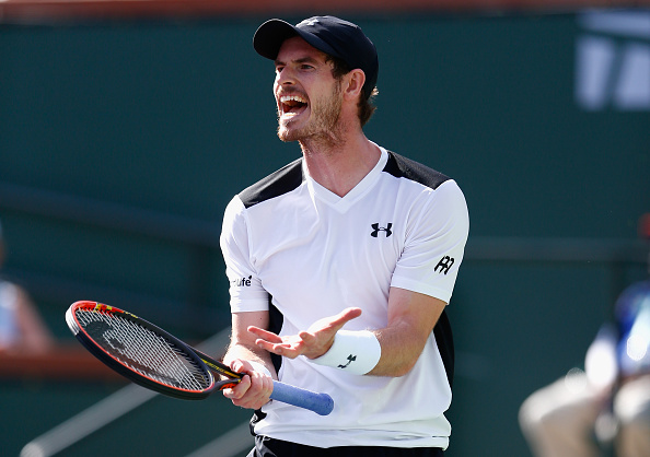 INDIAN WELLS, CA - MARCH 14:  Andy Murray of Great Britain reacts in his match against Federico Delbonis of Argentina during day eight of the BNP Paribas Open at Indian Wells Tennis Garden on March 14, 2016 in Indian Wells, California.  (Photo by Julian Finney/Getty Images)