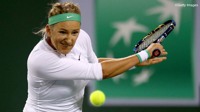 INDIAN WELLS, CA - MARCH 14:  Vicotria Azarenka of Belarus returns a shot to Shuai Zhang of China during the BNP Paribas Open at the Indian Wells Tennis Garden on March 14, 2016 in Indian Wells, California.  (Photo by Matthew Stockman/Getty Images)