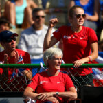 during the tie between Belgium and Great Britain on day three of the Fed Cup Europe/Africa Group One fixture at the Municipal Tennis Club on February 6, 2016 in Eilat, Israel.