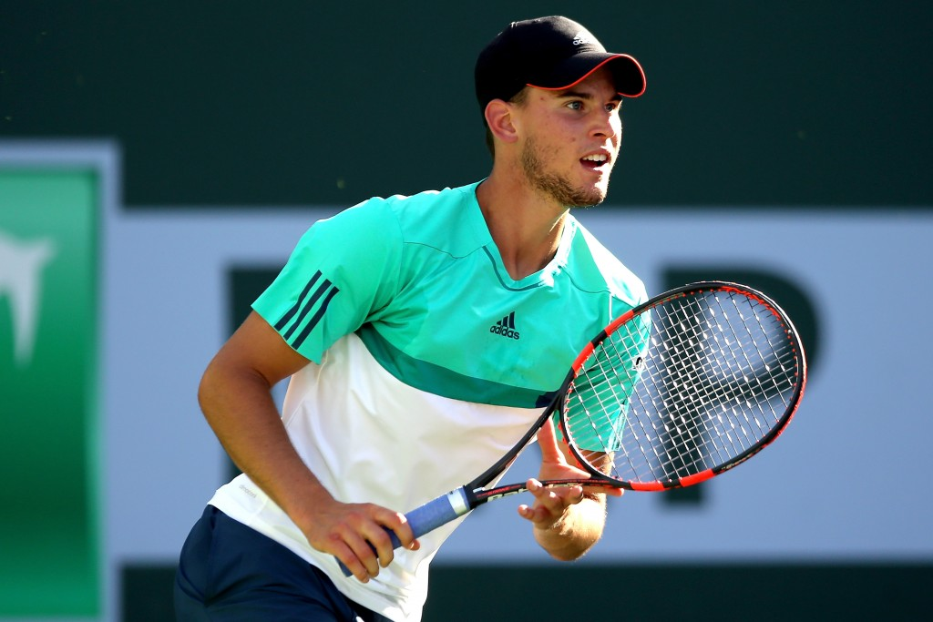 INDIAN WELLS, CA - MARCH 15:  Dominic Thiem of Austria plays Jack Sock during the BNP Paribas Open at the Indian Wells Tennis Garden on March 15, 2016 in Indian Wells, California.  (Photo by Matthew Stockman/Getty Images)