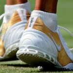 File photo of Maria Sharapova's shoes bearing her name in her ladies' singles second round match against Bulgaria's Sesil Karatancheva at the Wimbledon tennis championships in London, June 23, 2005.  REUTERS/Dylan Martinez