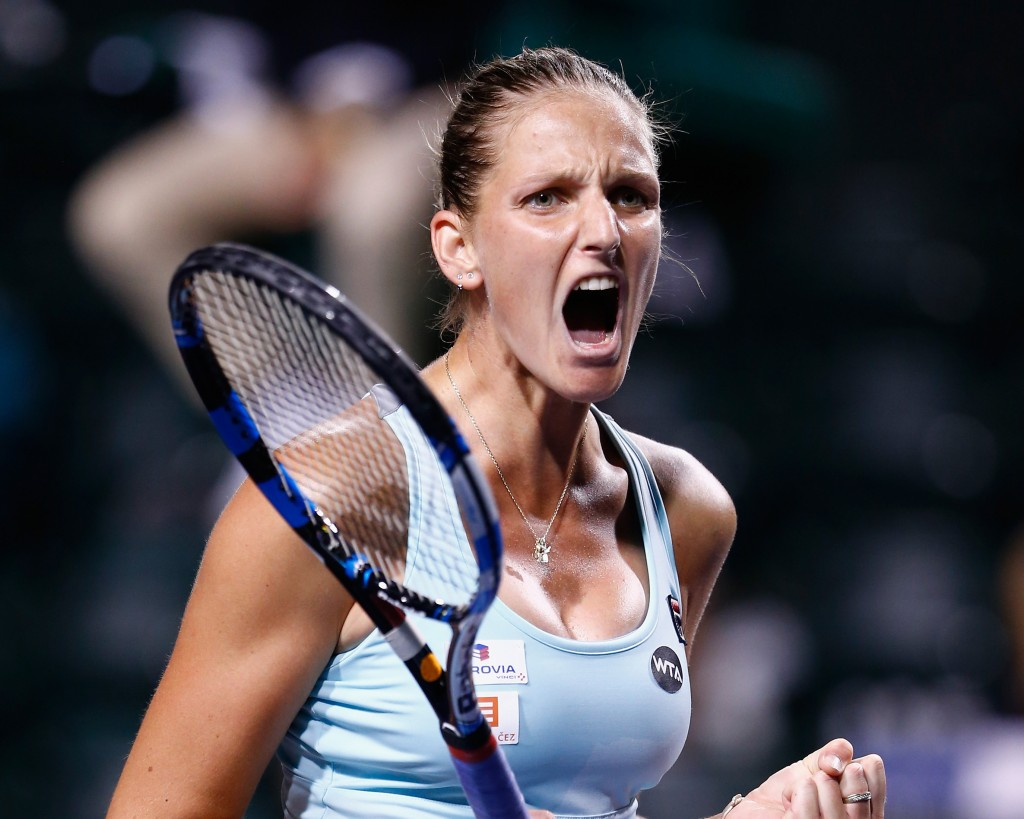 INDIAN WELLS, CA - MARCH 15:  Karolina Pliskova of Czech Republic celebrates defeating Johanna Konta of Great Britain during day nine of the BNP Paribas Open at Indian Wells Tennis Garden on March 15, 2016 in Indian Wells, California.  (Photo by Julian Finney/Getty Images)